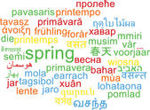 Spring multilanguage wordcloud background concept — Stock Photo