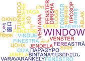 Window multilanguage wordcloud background concept — Stock Photo