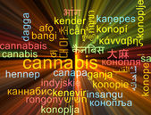 Cannabis multilanguage wordcloud background concept glowing — Stock Photo