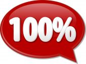 One hundred percent word speech bubble illustration — Stock Photo