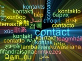 Contact multilanguage wordcloud background concept glowing — Stock Photo