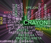 Crayon multilanguage wordcloud background concept glowing — Stock Photo