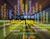 Diabetes multilanguage wordcloud background concept glowing — Stock Photo