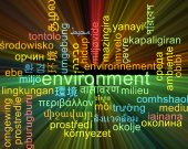 Environment multilanguage wordcloud background concept glowing — Stock Photo