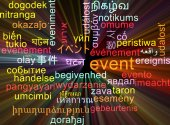 Event multilanguage wordcloud background concept glowing — Stock Photo
