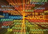 Finance multilanguage wordcloud background concept glowing — Stock Photo