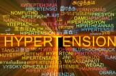 Hypertension multilanguage wordcloud background concept glowing — Stock Photo