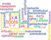 Tools multilanguage wordcloud background concept — Stock Photo