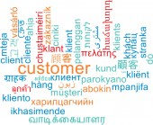 Customer multilanguage wordcloud background concept — Stock Photo