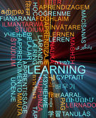 Learning multilanguage wordcloud background concept glowing — Stock Photo