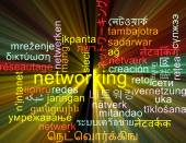 Networking multilanguage wordcloud background concept glowing — Stock Photo