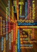 Numbness multilanguage wordcloud background concept glowing — Stock Photo