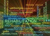 Rehabilitation multilanguage wordcloud background concept glowin — Stock Photo