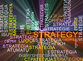 Strategy multilanguage wordcloud background concept glowing — Stock Photo