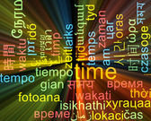 Time multilanguage wordcloud background concept glowing — Stock Photo
