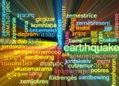 Earthquake multilanguage wordcloud background concept glowing — Stock Photo