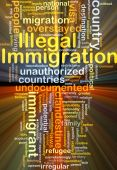 Illegal immigration background concept glowing — Stock Photo