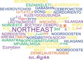 Northeast multilanguage wordcloud background concept — Stock Photo