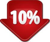 Ten percent down arrow bubble illustration — Stock Photo