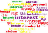 Interest multilanguage wordcloud background concept — Stock Photo