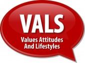 VALS acronym word speech bubble illustration — Stock Photo