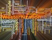 Westernization background concept glowing — Stock Photo