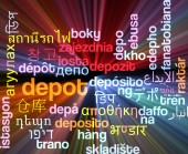 Depot multilanguage wordcloud background concept glowing — Stock Photo