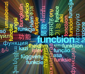 Function multilanguage wordcloud background concept glowing — Stock Photo