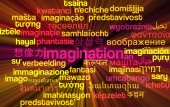 Imigination multilanguage wordcloud background concept glowing — Photo