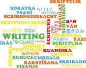 Writing multilanguage wordcloud background concept — Stockfoto