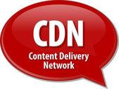 CDN acronym definition speech bubble illustration — Stock Photo