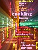 Cooking multilanguage wordcloud background concept glowing — Stock Photo