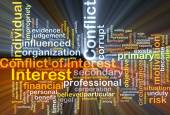 Conflict of interest background concept glowing — Stock Photo