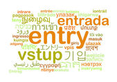 Entry multilanguage wordcloud background concept — Stock Photo