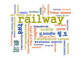 Railway multilanguage wordcloud background concept — Stock Photo