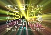 Salt multilanguage wordcloud background concept glowing — Stock Photo