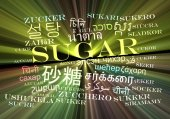 Sugar multilanguage wordcloud background concept glowing — Stock Photo