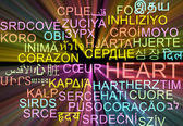 Heart multilanguage wordcloud background concept glowing — Stock Photo