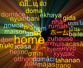 Home multilanguage wordcloud background concept glowing — Stock Photo