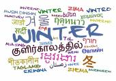 Winter multilanguage wordcloud background concept — Stock Photo
