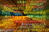 Bike multilanguage wordcloud background concept glowing — Stock Photo