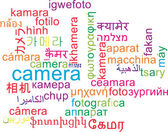 Camera multilanguage wordcloud background concept — Stock Photo