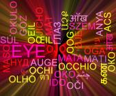 Eye multilanguage wordcloud background concept glowing — Stock Photo