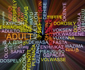 Adult multilanguage wordcloud background concept glowing — Stock Photo