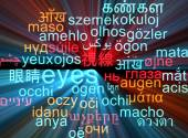 Eyes multilanguage wordcloud background concept glowing — Stock Photo