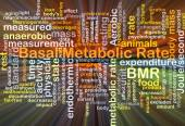 Basal metabolic rate BMR background concept glowing — Stock Photo