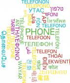Phone multilanguage wordcloud background concept — Stock Photo