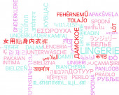 Lingerie multilanguage wordcloud background concept — Stock Photo