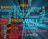 Wall multilanguage wordcloud background concept glowing — Stock Photo