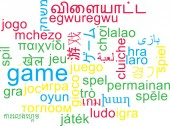 Game multilanguage wordcloud background concept — Stock Photo